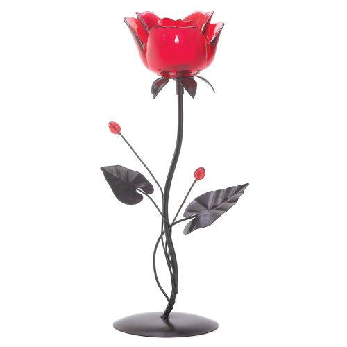Gifts & Decor Romantic Rose Votive Candle Holder Wedding (Ruby Red Candlestick)