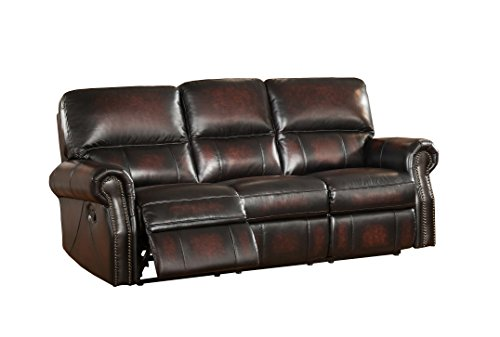 Amax Leather Brooklyn Reclining Sofa, Burgundy Brown