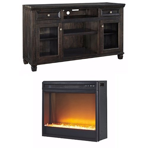 Ashley Furniture Signature Design - Townser TV Stand with Contemporary Stone Fireplace Unit Included - Dark Brown Mission Stone Fireplace