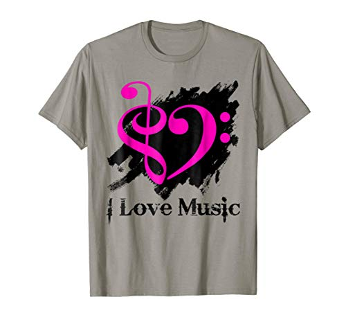 Treble Clef Bass Clef Fuchsia Heart Grunge Brush Strokes Music Lover Bassist T-Shirt