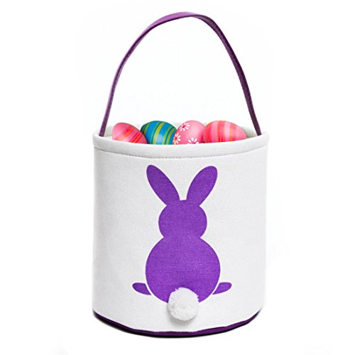 GWELL 4 PCS, Easter Bunny Basket, Foldable Gift Basket Bucket for Kids, DIY Gifts, Egg Hunt, Candies, Goodies, Canvas Bag with Bunny Tail Pompom by GWELL (Image #4)