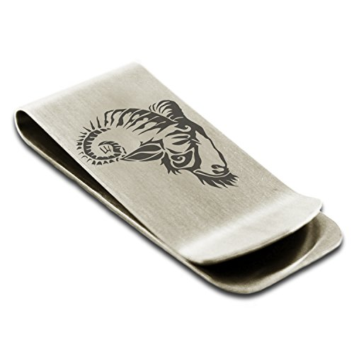 Satyr Credit Card Money Holder Celestial Goat Engraved Silver Steel Tioneer Stainless Clip AZqtOwp