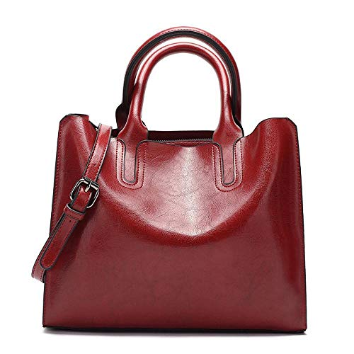 Red Oil Handbags Wax Lady tracolla Ladies Large Wwave B New Borsa tracolla Leather a a thCdsrQ