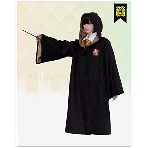 [HP1 Adult Harry Potter Robe ALL 4 HOUSES XXS-XXL Halloween Costume USA (XS, Hufflepuff Yellow)] (Ron And Hermione Costumes)