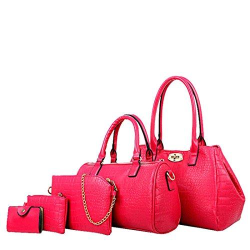 Women Fashion 5-Pcs Set PU Leather Tote Bags-Rose Red - 1