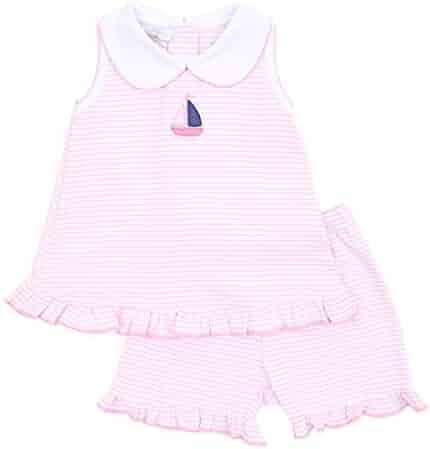 5d5f78115733 Magnolia Baby Baby Girl Baby Sailor Emb Collared Ruffle Short Set Pink