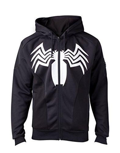 (Venom Hoodie Venom Logo Spiderman Official Marvel Mens Black Zipped Size XL)