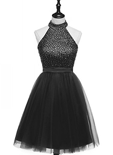 Beaded Short Dress Halter Dress (HEIMO 2017 Beading Keyhole Back Homecoming Dresses Halter Beaded Prom Gowns Short H205 6 Black)