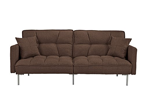 Sleeper Sofa Microfiber Futon (Modern Plush Tufted Linen Fabric Sleeper Futon)