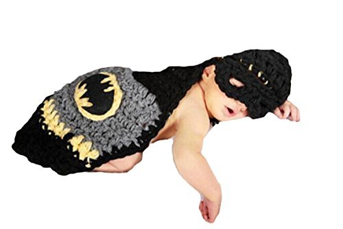 Little Kiddo Newborn Baby Boy Crochet Costume Photography Props Cartoon Knitting Hat Bow Infant Photo Props Outfits Suit (Newborn Batman Outfit)