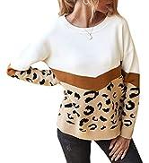 PRETTYGARDEN Women's Casual Long Sleeve Off Shoulder Knitted Sweater Leopard Print Color Block Lo...
