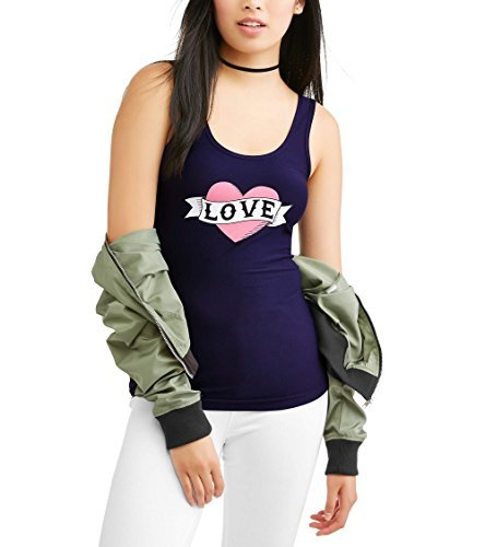 No Boundaries Womens Tank Top (Medium, Navy Love) from No Boundaries