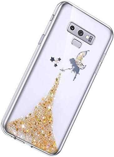 Herbests Kompatibel mit Samsung Galaxy Note 9 Hülle Glänzend Glitter Bling Glitzer Kristall Sterne Engel Mädchen Durchsichtig TPU Silikon Handyhülle Crystal Case Dünn Bumper Tasche Etui,Rosa