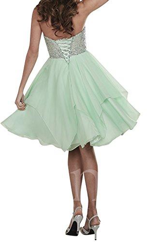Promkleider Brau La Minze Ballkleider Kurzes mia Gruen Brautjungfernkleider Knielang Abendkleider Festlichkleider Chiffon a44Y5Oq