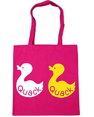HippoWarehouse Quack Duck Tote Shopping Gym Beach Bag 42cm x38cm, 10 litres Fuchsia