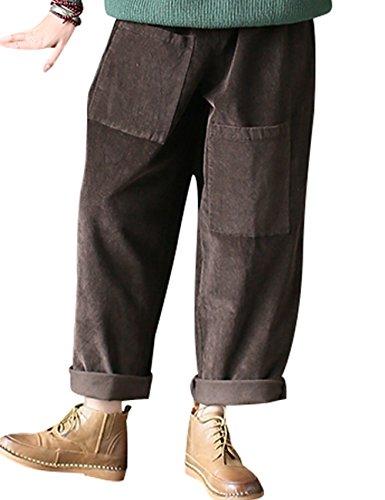 Youlee En Taille Pantalon Style Coton Femmes Avant 1 Poches Café Côtelé Elastique Velours rw4r6