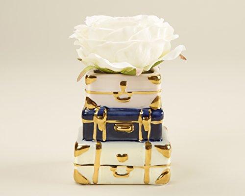 Kate Aspen 23177NA Suitcase Ceramic Bud Vase, One Size, White/Gold/Blue and Pink