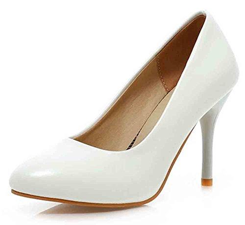 Easemax Sexy Orteil Pointu Slip-on Slip Sur Talon Aiguille Haut Pompes Chaussures Blanc