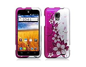 Purple and Silver Hibiscus Flower Vines Design Shield Case + Atom LED Keychain Light for ZTE Unico LTE Z930L (Straight Talk, Tracfone, Net 10)