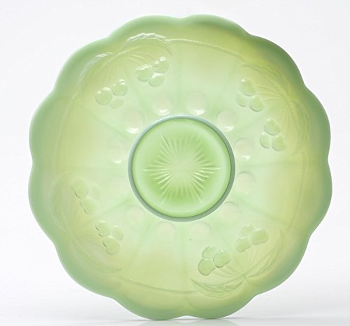 Northwood Green Carnival Glass - Platter - Cherry & Cable Pattern Mosser Glass US (Green Opalescent)
