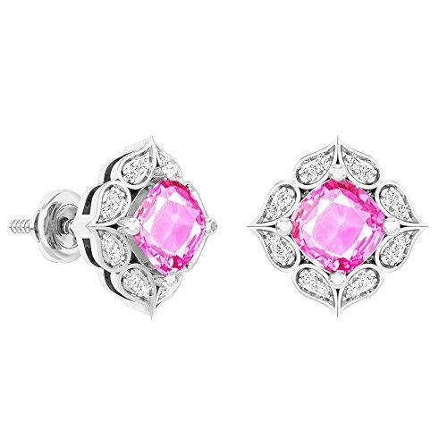 - 14K White Gold Each 6 MM Cushion Lab Created Pink Sapphire & Round Diamond Ladies Stud Earrings