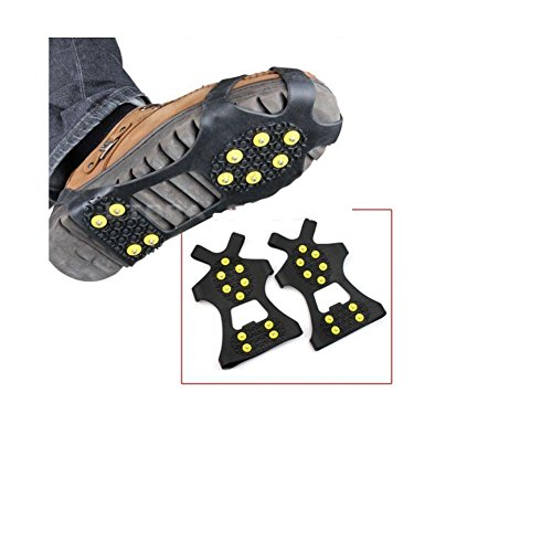 Wotesport Ice Grips Ice Traction Cleats Snow Ice Cleat Crampons Outdoor Durable 10 Steel Studs, Stretchable, Prevent Slipping From Ice/Snow