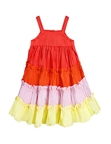 Little Baby Girls Rainbow Dress Toddler Princess Sleeveless Halter Beach Tutu Sundress, Kids Summer Twirl Dress(4-5T)