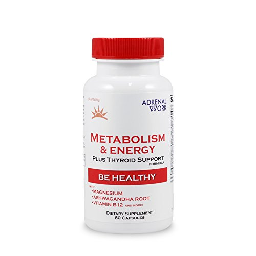 Natural Energy & Metabolism Booster Pills: Metabolism Boosting Formula with Thyroid & Adrenal Support for Weight Loss, Energy & Focus - Non GMO Daily Dietary Supplement for Men & Women - 60 Capsules