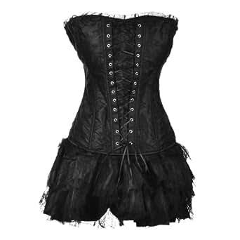 MUKA Burlesque Green Lace Overlay Fashion Corset & Skirt Set, Gift Idea BLACK-L