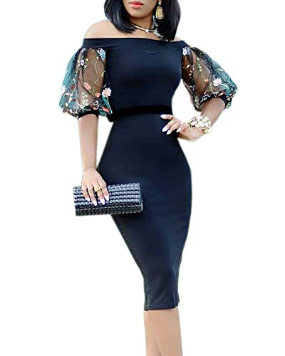 Ybenlow Womens Off The Shoulder Short Sleeve Vintage Slim Bodycon Cocktail Party Club Midi Dress ()