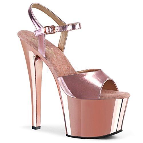 (Women's 7 Inch Spike Heel Platform Sandal (Rose Gold Met. Pu/Rose Gold Chrome;8) )