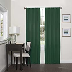 Eclipse Darrell Thermaweave Blackout Window Curtain Panel, 37x95 Inches, Emerald
