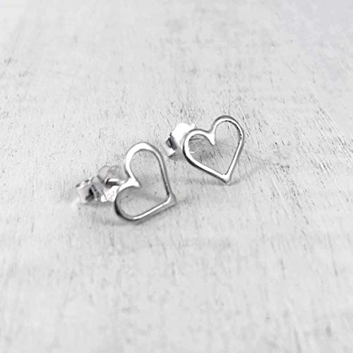 Handmade Open Hollow Heart Shaped Stud Post Earrings, Sterling Silver 925 Polished Finish (1 cm). Perfect Gift Set ()