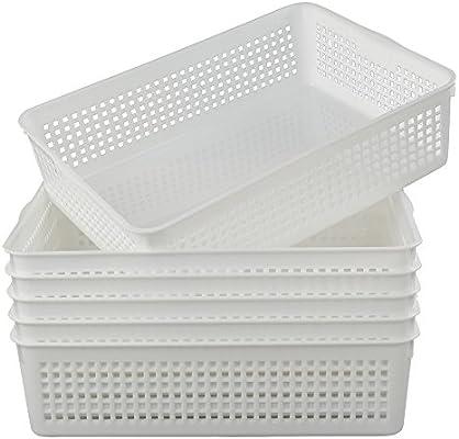 Gitany Cesta Rectangular de plástico para Almacenamiento, A4 Cesto de Almacenamiento Blanca , 6 Unidades: Amazon.es: Hogar