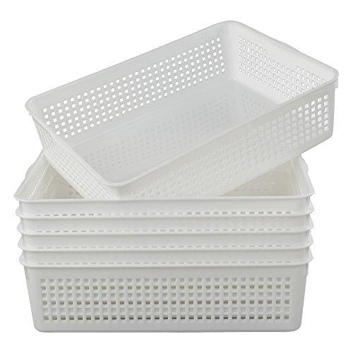 (Lesbin Plastic Storage Trays Baskets/Organizing Baskets, 13.2 Inches x 9.6 Inches x 3.6 Inches, Set of 6)