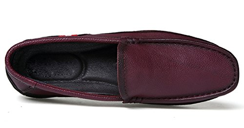 Tda Hombres Classic Slip-on Leather Penny Driving Mocasines Walking Boat Zapatos Wine Red