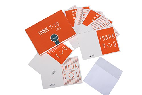 Thank you notes by Ksandr - 50 thank you cards with envelopes for wedding, birthday - Coated paper and 2 designs of custom thank you cards in the box - sizes 4,88x3,5 inch - Good mood guarantee.