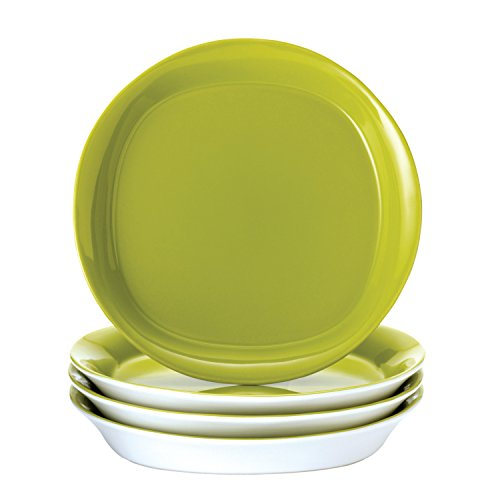 re Round and Square 4-Piece Stoneware Salad Plate Set, Green ()