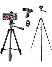 Veasion Mobiel Statief 140 cm(55inch)camera statief voor iphone, statief voor mobiele telefoon en Bluetooth afstandsbediening , geschikt voor Various models of camera en mobile phones