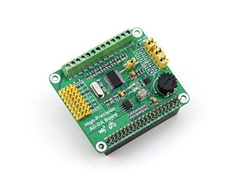 Waveshare Raspberry Pi AD/DA Expansion Sheild Board for Adding High-Precision AD/DA Functions to Raspberry Pi Onboard ADS1256 DAC8552 Sensor - Module Interface Analog