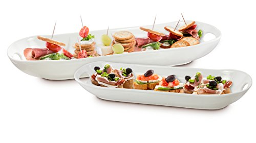 Cracker Tray - KOVOT Set of 2 Porcelain Serving Dishes | For Serving Appetizers, Snacks, Sides And All Kinds Of Finger Food