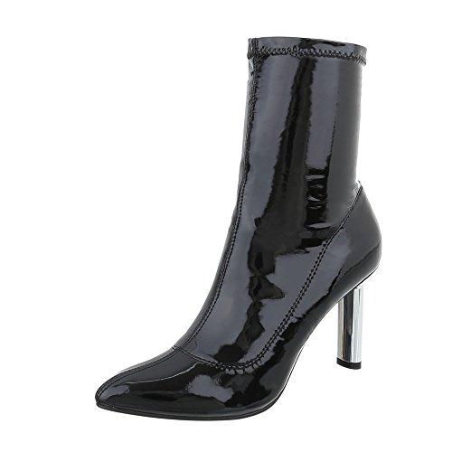 Noir Femme High design Bottes Chaussures Aiguille Et Ital Heels Bottines gxUqzWHgw