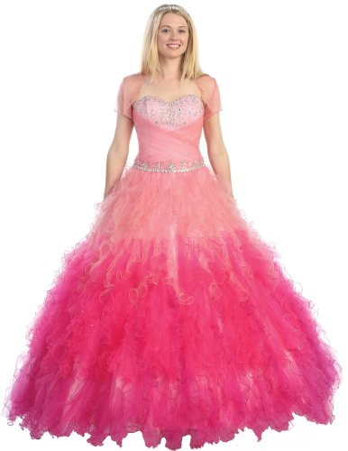 Ball Gown Formal Prom Strapless Ruffled Wedding Dress #37 (8, Pink)