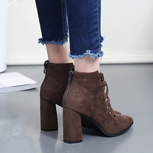 KPHY-Sexy ausgesetzt die kurze Stiefel im Herbst die ausgesetzt neue Spitze mit einer Kombination aus dünnen Dick mit high-heeled Reißverschluss blanken Stiefel Weiblich Khaki fdb3af