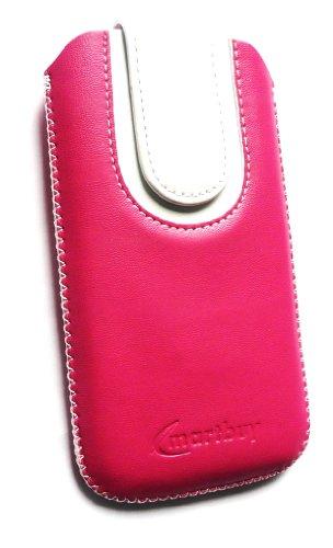Emartbuy ® Apple Iphone 3G / 3Gs Pink / White Premium-Pu-Leder Slide In Pouch / Case / Sleeve / Holder (Größe Large) Mit Pull Tab Mechanismus Und Lcd Screen Protector