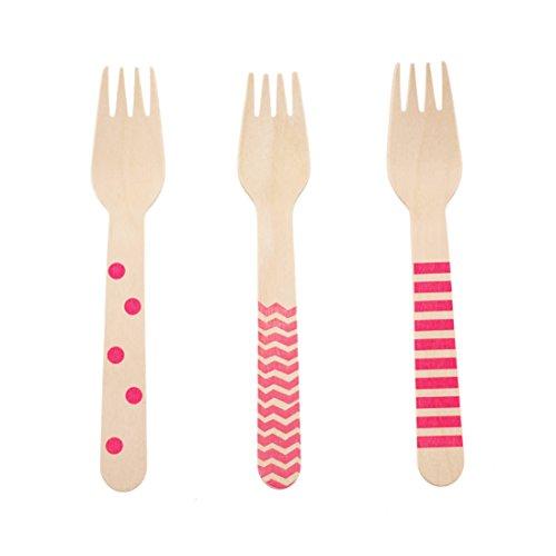 Disposable Wooden Forks, Hot Pink Flatware (Bright Pink 18 Count Wooden Forks) - Stripe, Chevron & Polka Dot Serving Fork, Dinnerware Sets, Wedding Decorations, Utensil Set