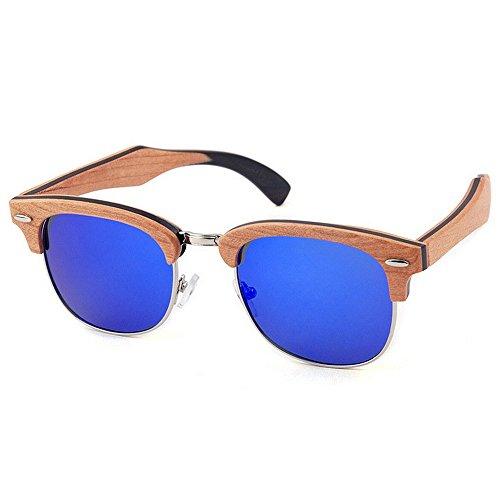 de decoración UV las madera Remache sol la conduce de calidad mano sin de semi hombres la reborde gafas gafas de a hechas polarizadas de que Sunglasses los protección Azul sol Beach de sol de alta gafas de qqApSOwEx