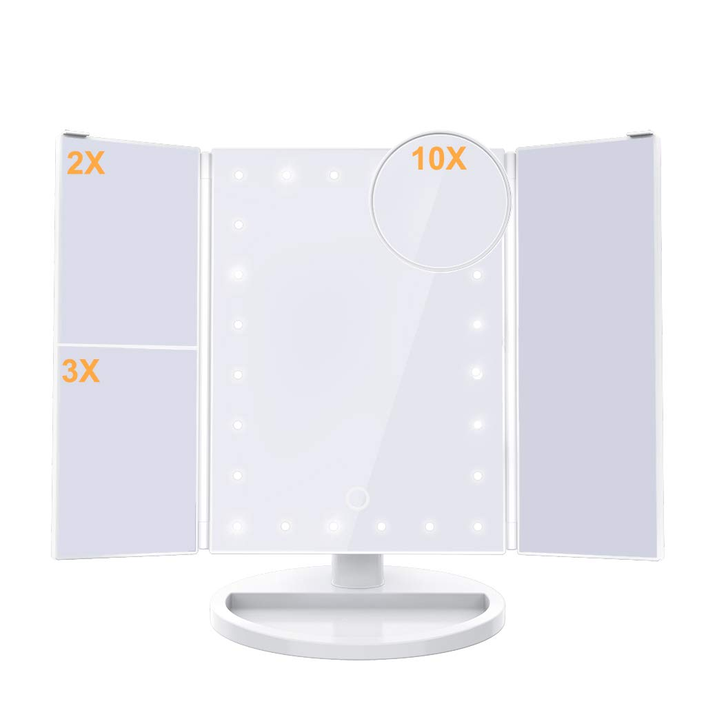 Ultimate Lighted Makeup Vanity Mirror | Trifold Magnifying Beauty Mirror With 24 LED Lights | 180° Rotation & Adjustable Height | 2X/3X/10X Magnification | Dual Power Supply & Tray Shaped Base | white