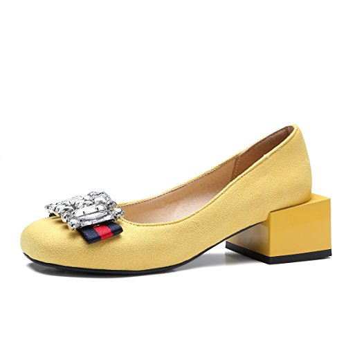 Basso QIN Donna Yellow Sandali Tacco amp;X q4FAZw1tP
