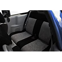 CalTrend Rear 60/40 Split Bench Custom Fit Seat Cover for Select Ford Models - SuperSuede (Light Grey/Black)